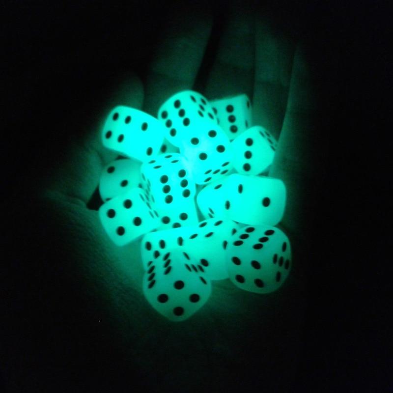 6pcs/lot 6 Sided 14mm Noctilucent Dice Cubes Night Light Luminous Fun Night Bar KTV Entertainment Game Dices Wholesale