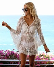 New Lace Swimsuit with Blouse Hollow Bikini Jacket Beach Cover Up  Swimsuit Cover Up  Womens Tunic slit lace up tunic sweater