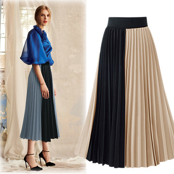 2020 Spring New Style High-waisted Mid-length Western Style Pleated Skirt Mixed Colors Versatile Chiffon Skirt high waisted metal embellished chiffon skirt