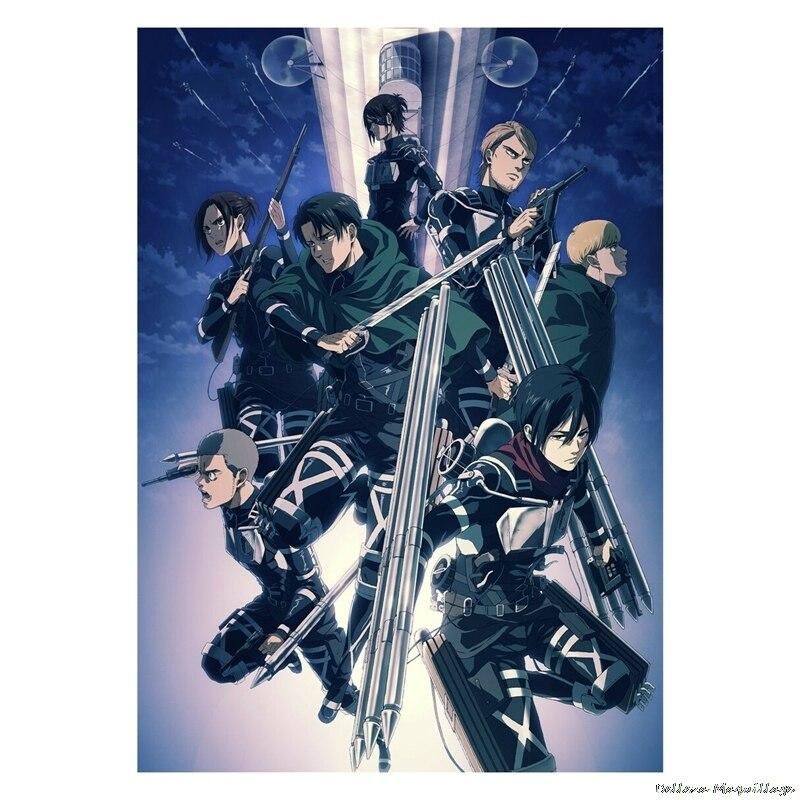 Плакаты из японского аниме «атака на Титанов», бумажные принты с прозрачным изображением, украшение для гостиной, спальни, бара, кафе, украш...