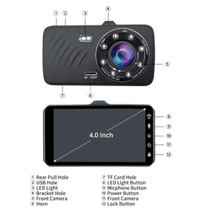 Image 4 - E ACE Car DVR 4 Inch Touch Auto Camera Dual Lens Dashcam FHD 1080P Registrator With Rear View Camera Dash Cam Video Recorder