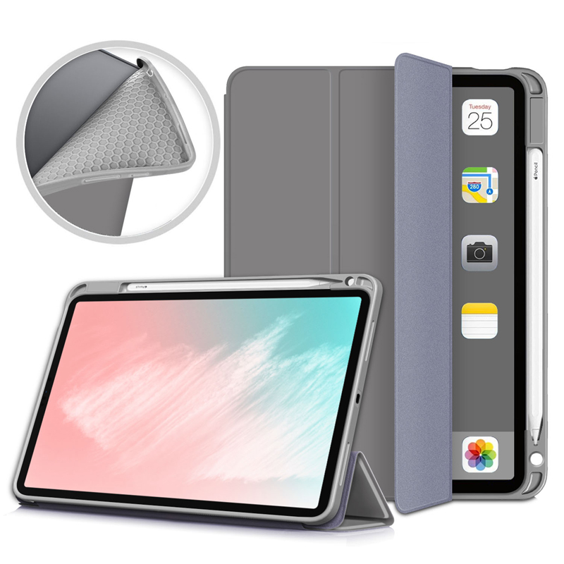 Gray Blue Pencil Holder Case For iPad Air 4 10 9 inch 2020 A2324 A2072 Flip Stand PU