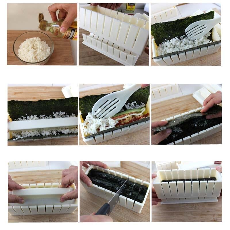 11 шт. DIY кухонные инструменты, суши-комплект, домашняя кухня, здоровые суши-ролл, набор инструментов для суши с 50 водорослями-5