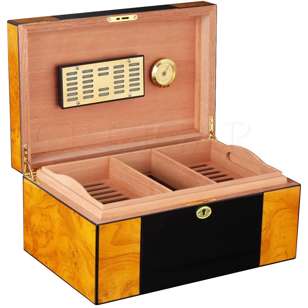 COHIBA Cedar Wood Humidor Home Cigar Case Large Capacity Glossy Piano Finish Cig