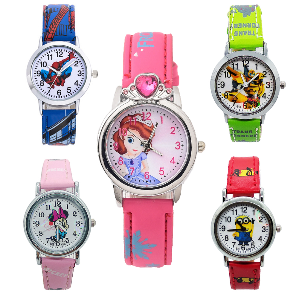 New 3D Minnie Baby Students Clock Kids Watches Boys Girls Princess Diamond Children Watch Spider Man Child Quartz Wristwatches