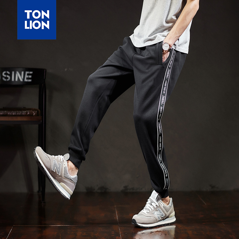 TONLION Trousers Men Black Side Stripe Decoration Knitted Pants Fashion Casual Pencil Pant for Mens Full Length Elastic Waist title=