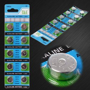 10Pcs AG13 A76 LR44 357A S76E G13 Button Coin Shaped Cell Battery 1.55V Alkaline Button Batteries(China)