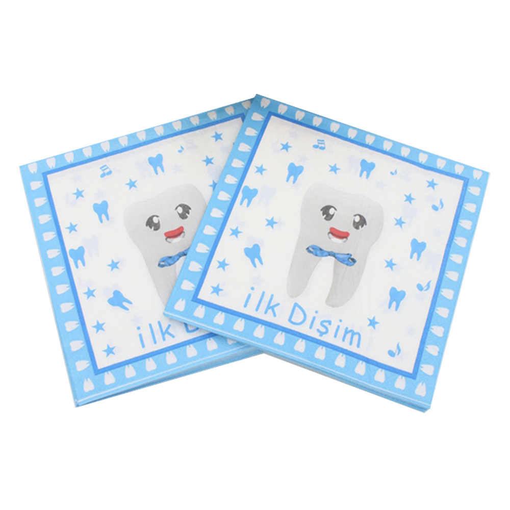 [Currently Available] Color Printed Napkin Teeth Creative Tissue Birthday Party Kleenex Cross Border Hot Selling