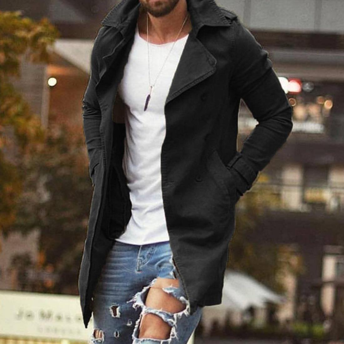 Spring Autumn Men Trench Coat Jacket Slim Fit Plus Size Black Outwear Business Long Windproof Overcoat Jackets For Men 2
