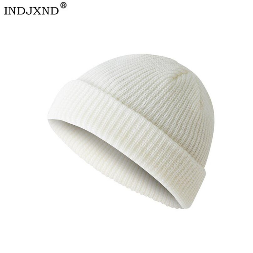 INDJXND Winter Warm Knitted Skullcap Casual Short Hip Hop Hat Adult Men   Beanie   Wool Knitted   Beanie   Skull Cap Elastic Hats Unisex