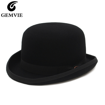 GEMVIE 4 Colors 100% Wool Felt Derby Bowler Hat For Men Women Satin Lined Fashion Party Formal Fedora Costume Magician Round Hat