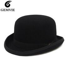GEMVIE 4 couleurs 100% laine feutre Derby melon chapeau pour hommes femmes Satin doublé mode fête formelle Fedora Costume magicien chapeau rond