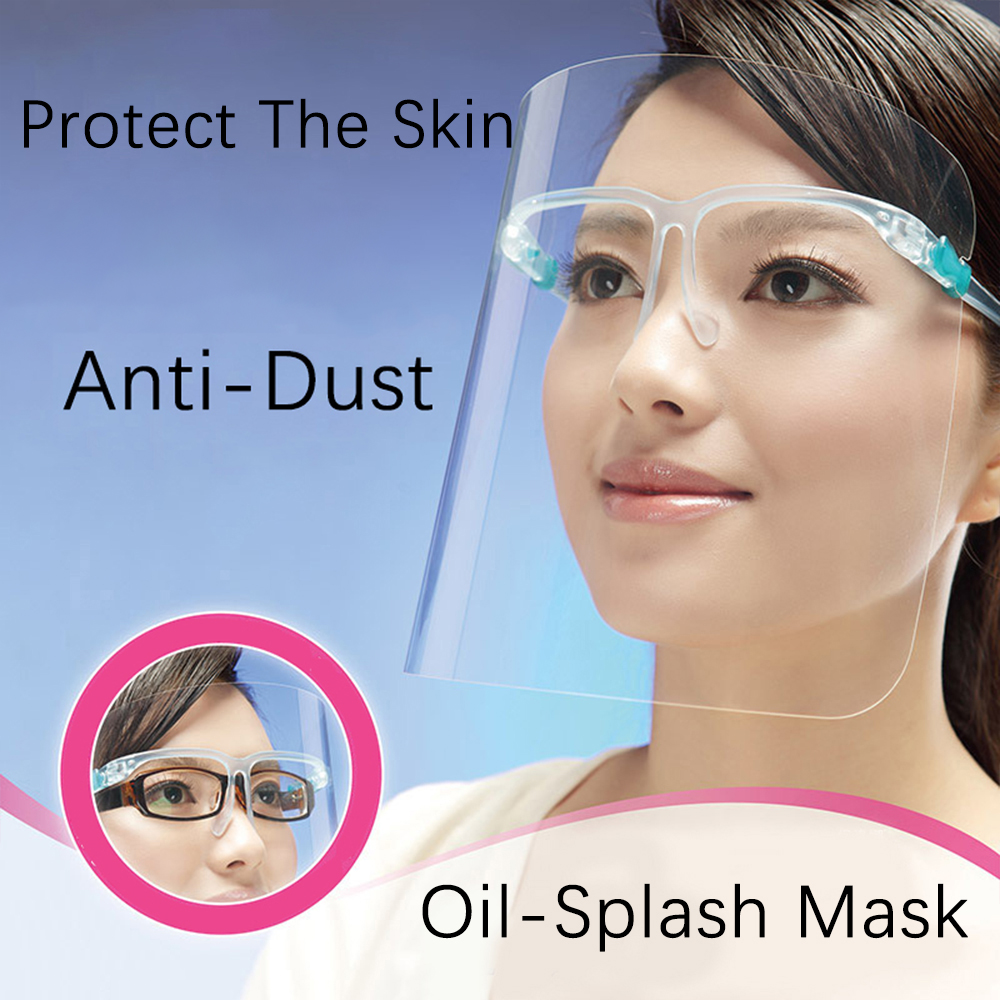 Fast Ship 1Pcs Home Cooking Face Screen Double-Sided Anti-Fog Prevent Liquid Oil-Splashing Protective Face Shield With Glasses