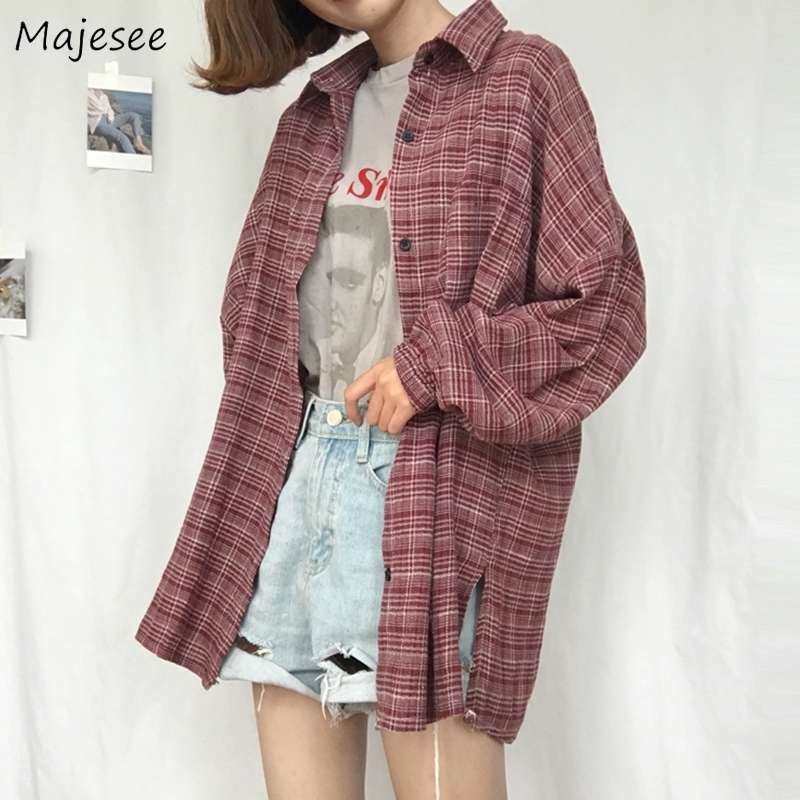 Shirts Women Plaid All-match Loose BF Sweet Candy Color Harajuku Ulzzang Daily Casual Korean Style Fashion Shirt Womens Elegant