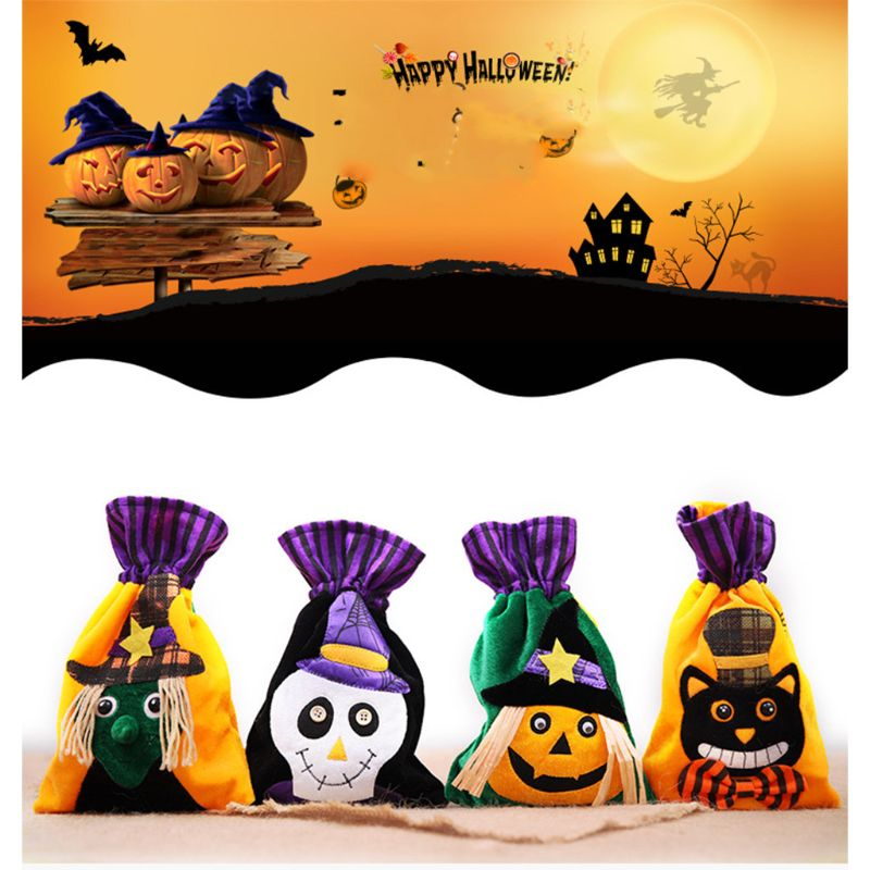 Adults Kids Unisex Halloween Candy Bags Gift Organizer Storage Case Drawstring Bag For Favors Decoration Small Purse 4 Styles
