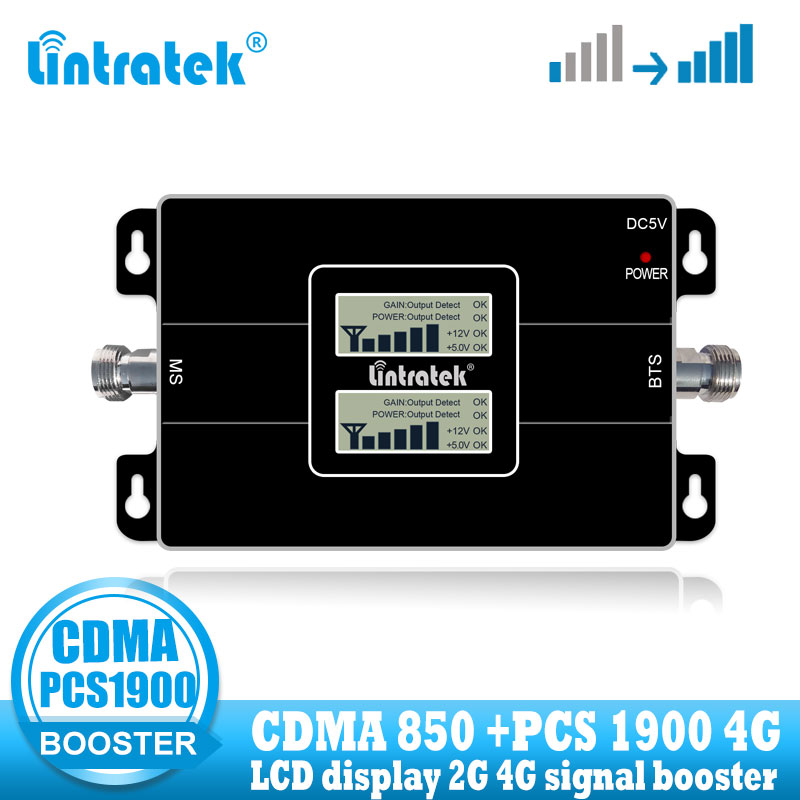 Lintratek 3G CDMA 850 PCS 1900 Repeater Mobile Signal Booster PCS 1900MHZ Dual Band Cellular Signal Amplifier 3G 4G 850 Network