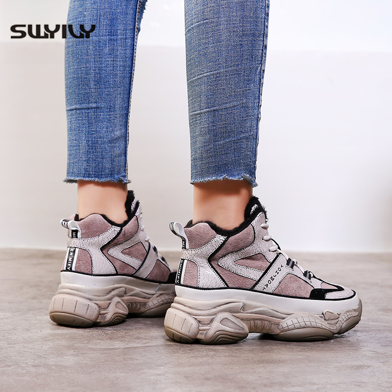 SWYIVY Winter Shoes Women Sneakers 2019 New Fashion Plush Warm Dad Shoes Platform Sneakers Women High Top Casual Shoes Autumn