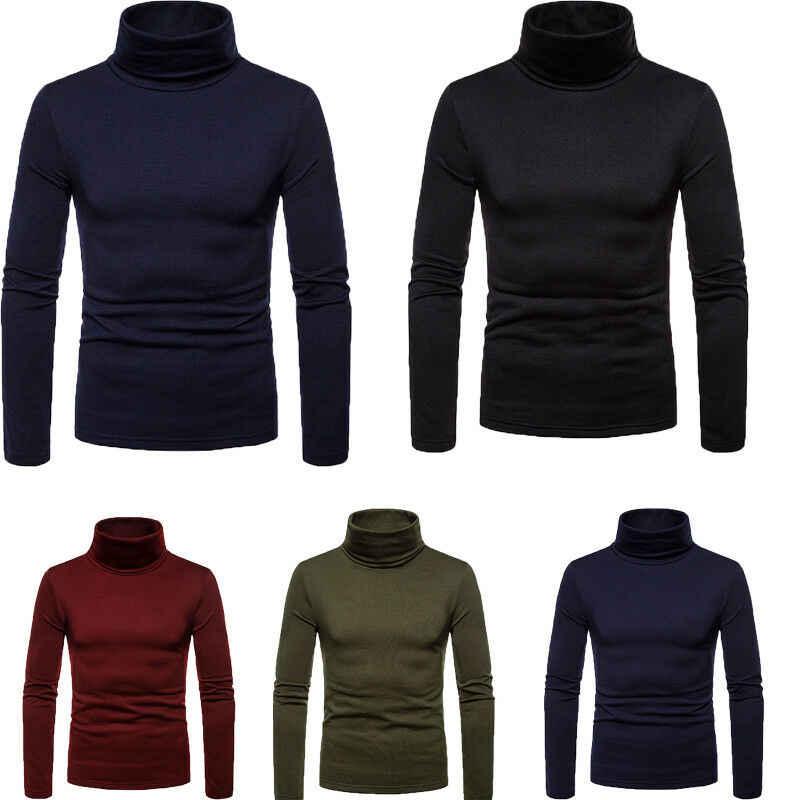 ホット冬暖かいメンズ綿タートルネックタートルネック長袖固体セーターストレッチジャンパー ML XL 2XL 衣装服