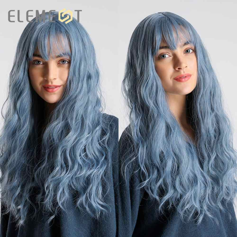 Element Synthetische Lange Water Wave Haar Mix Paars Ombre Bruin Blond Grijs Cosplay Pruiken Met Pony Voor Vrouwen Afrikaanse Amerikaanse