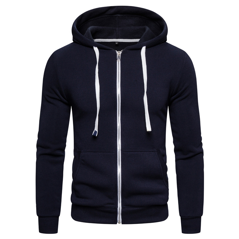 OKKDEY 2020 Spring And Autumn 65 Cotton Plus Cashmere Sweater Pure Color Zip Hoodie Jacket Mens Fashion Clothing Trends 1