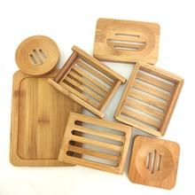 Natural Eco Friendly Bamboo Soap Dishes Tray Holder Storage Soap Rack Plate Box Portable Bathroom Soap Dish Storage Box