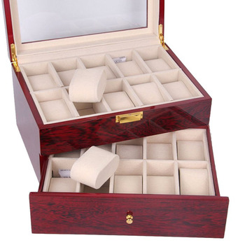 Transparent Cover Jewelry Box With 20slots Watch Case Gifts Bracelet Ring