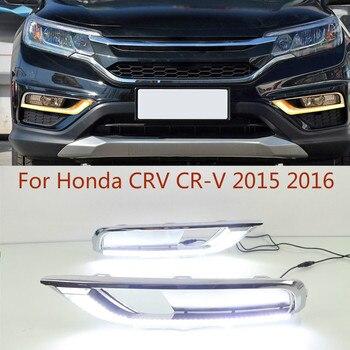 1 Set 12V ABS LED For Honda CRV CR-V 2015 2016 DRL Daytime Running Light Daylight With Yellow Turn Signal Lamp