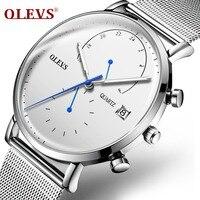 Olevs Pria Watch Top Brand Luxury Watch Milanese Steel Tali Jam Jam Tangan Pria Relogio Masculino untuk Suami atau Pacar Hadiah
