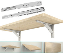 12-inch Length 90 Degree Metal Spring Loaded Triangle Folding Shelf Brackets Support 2pcs