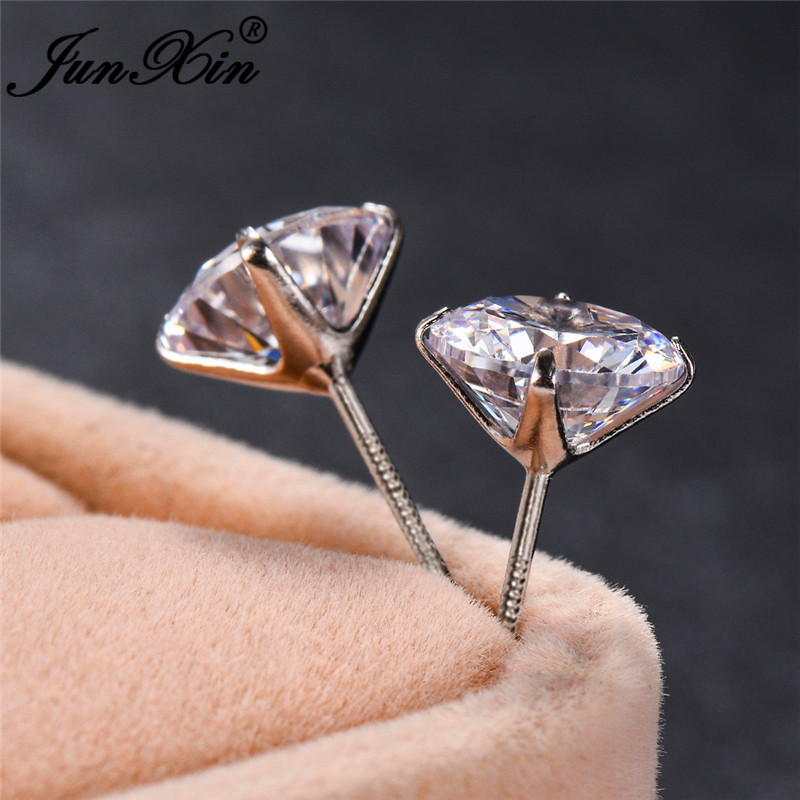 Dainty Small Crystal Stone Round Stud Earrings For Women Silver Color Minimalist Zircon Wedding Double Earrings Daily Jewelry