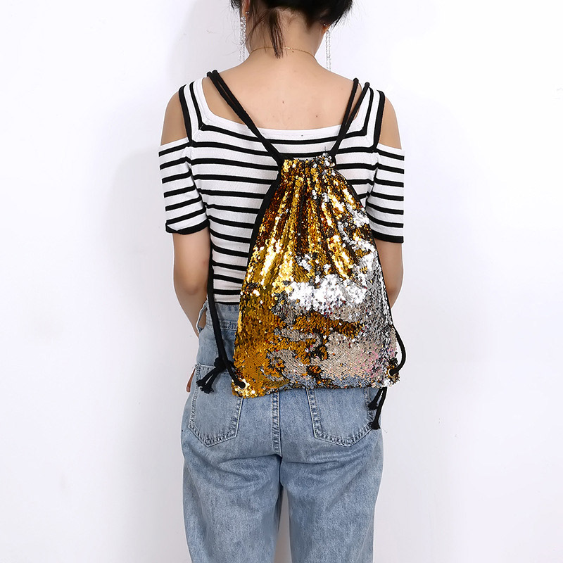 New Style Sequin Drawstring Bags Reversible Sequin Backpack Glittering Shoulder Bags For Girls Women