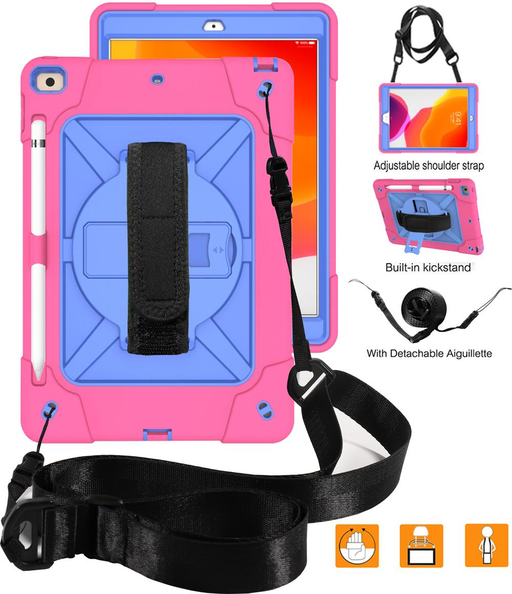Kids Safe Heavy Duty Rotating Hand Shoulder Strap Case For iPad 10.2 7th Generation 2019 10.2 inch A2200 A2198 A2232 Tablet