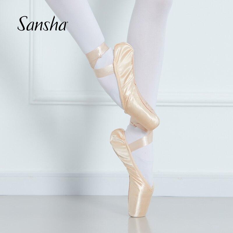 Sansha adulte enfants Ballet Pointe chaussures rose/noir/rouge Satin filles femmes chaussures de danse professionnelle avec rubans Silicone orteil coussinet SP