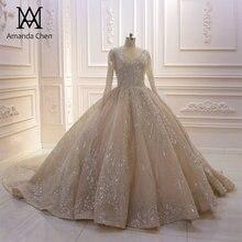 Robe de mariée de mariage manches longues, col en v, dos bas, robe Champagne, 2019