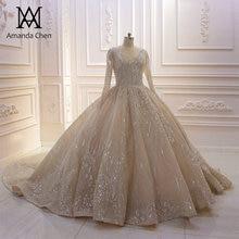 mariage Long Sleeve V neck Low Back Champagne Wedding Dress 2019