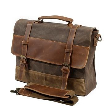 "Men Messenger Bag Waterproof Canvas Leather Man Vintage Handbags Large Satchel Shoulder Bags 14"" Computer Laptop Briefcase"