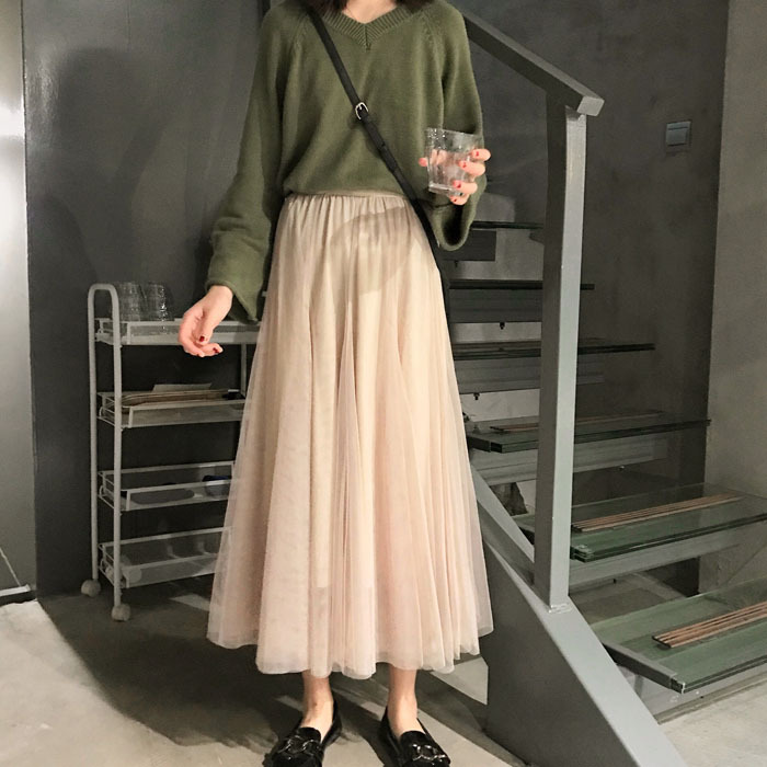 Photo Shoot New Style Korean-style Elastic Waist Joint Big Skirt Network Mesh Dress Fairy Skirt Mid-length Mesh Dress Women's