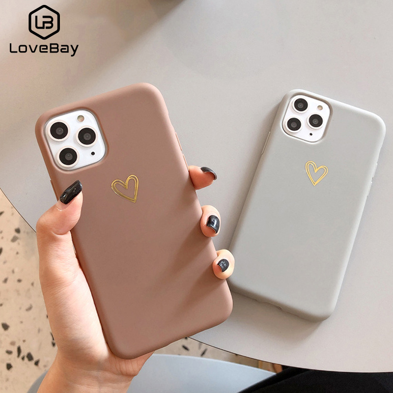 Lovebay Gold Love Heart Case For IPhone 11 Pro 6 6S 7 8 Plus X XR XS Max Simple Solid Color Phone Cases Soft TPU Back Cover Capa
