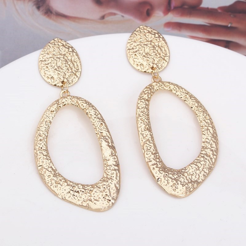 New Fashion Texture Geometric Metal Big Drop Earrings Gold Color Hollow Irregular Earrings For Woman Accessories Pendientes Gift