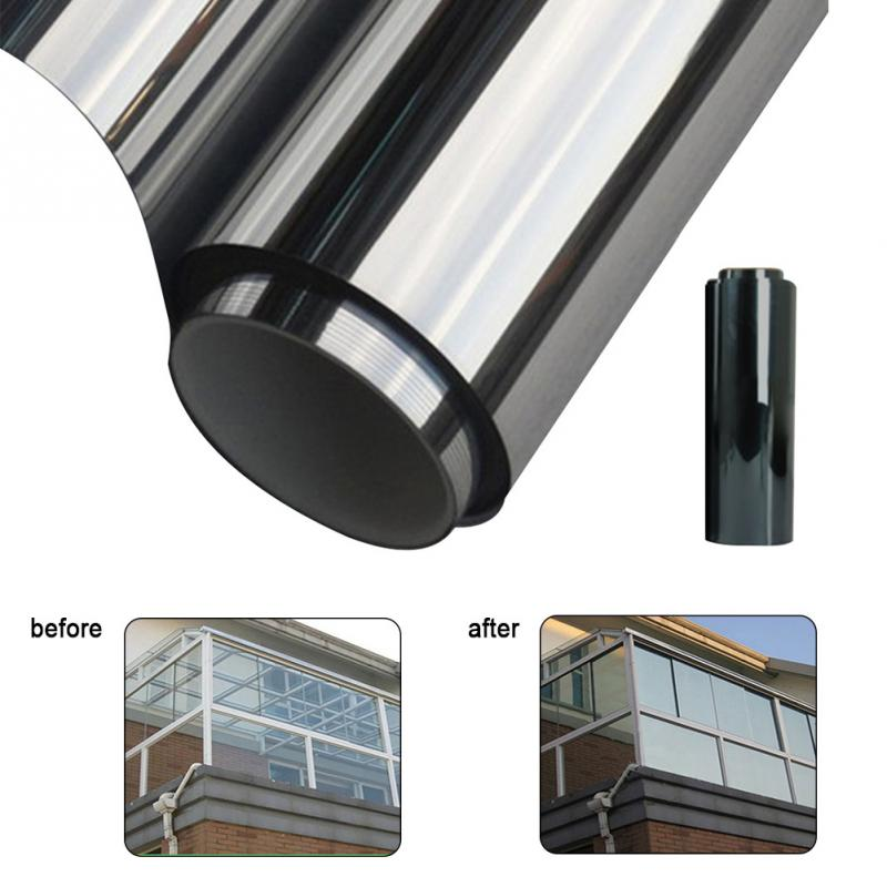 Waterproof Window Film One Way Mirror Silver Insulation Stickers UV Rejection Privacy Windom Tint Films Home Decoration 200*50CM