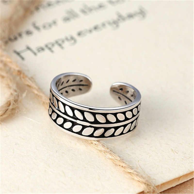 925 sterling argento regolabile anello di Temperamento foglie di personalità per ristabilire i sensi antichi monili di modo delle Donne