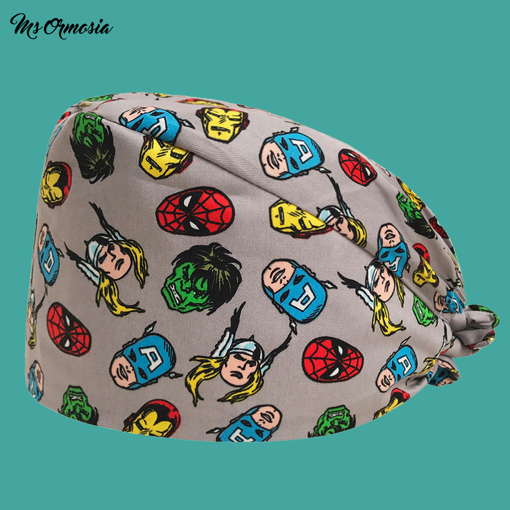 New Cartoon Printed Men And Women 100% Cotton Pet Hospital Doctor Nurse Cap Elastic Band Operating Room Surgical Cap Doctor Cap