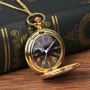 8823Smooth and bright fashion vintage two-sided gold pocket watch with black Roman numerals surface, with a pocket watch