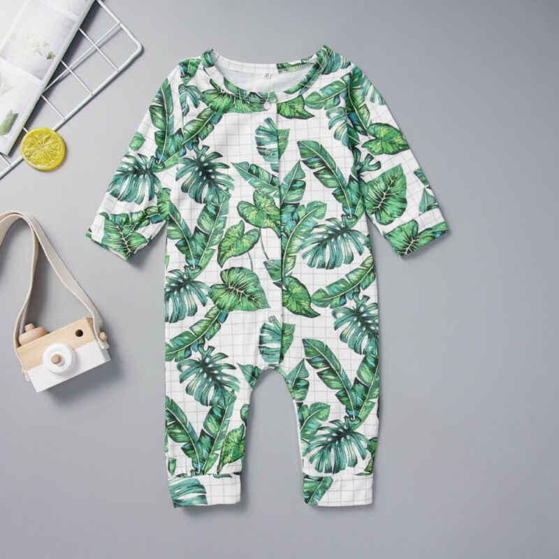 Pudcoco Lucu Bayi Anak Laki-laki Gadis Cetak Daun Pisang Baju Monyet Katun Lengan Panjang Jumpsuit Pakaian Pakaian