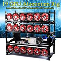 19 GPU Graphics Card Chassis Rack Open Air Mining Case Computer Aluminium Graphics Chassis Frame Miner Frame Rig Temp Monitor