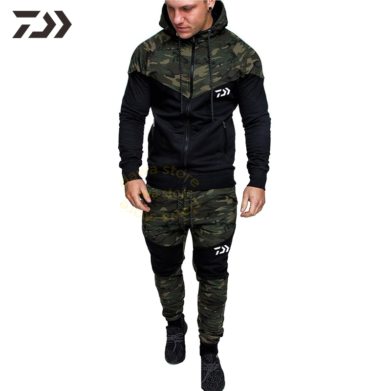 Daiwa Clothing Fishing Suit Men Breathable Hoodie Fishing Clothes Outdoor Fishing Pants Men Camouflage Sportswear Fishing Jacket