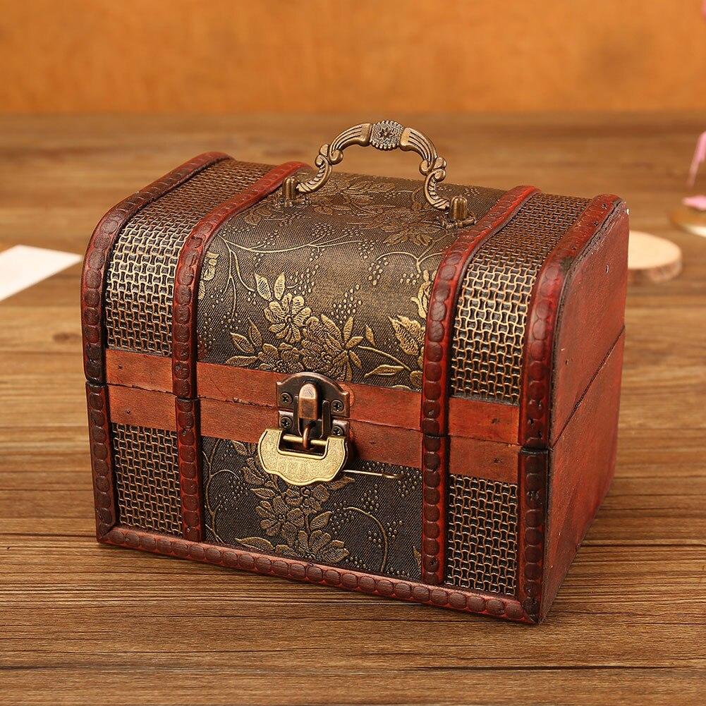 European Royal Retro Wood Jewelry Organizer Handmade Flower Pattern Printing Jewelry Storage Box Treasure Case With Lock Jewelry