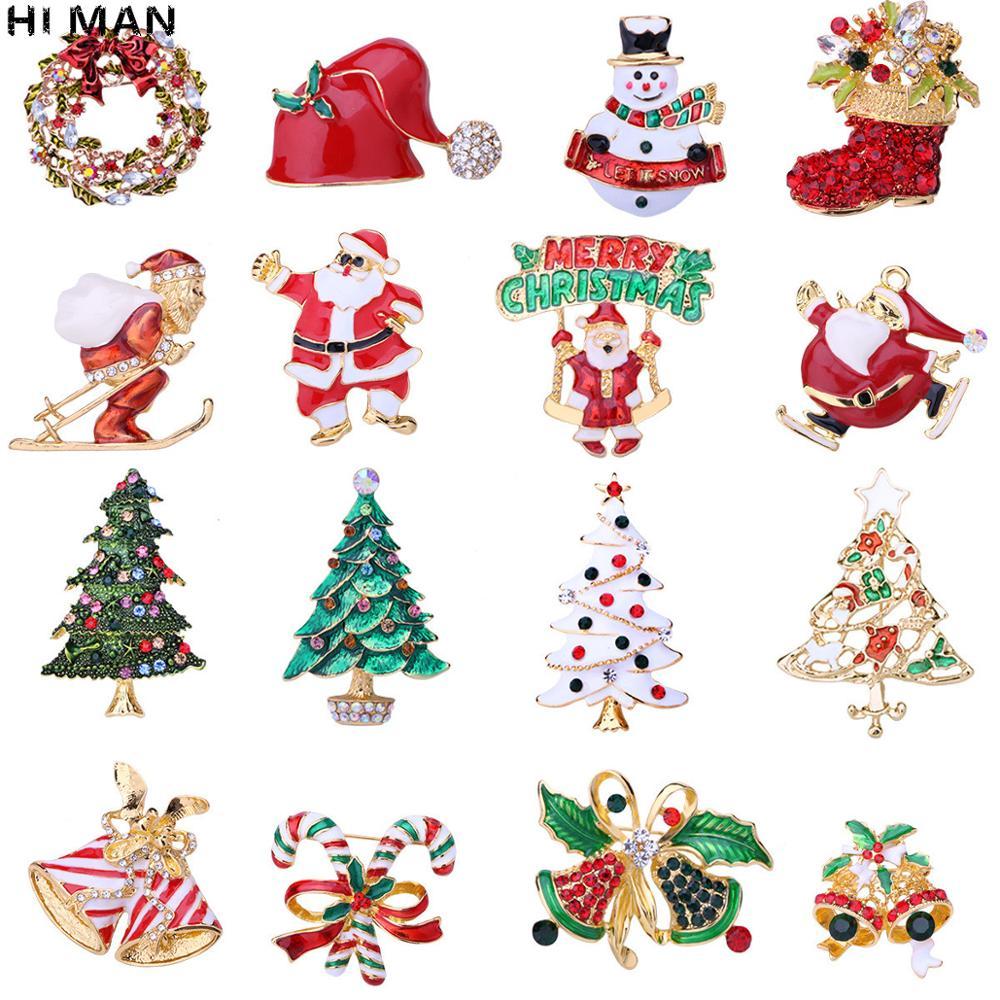 HI MAN 29 стилей модная Рождественская брошь Санта-Клаус Рождественская елка Лось простая мультяшная брошь с иконкой модный праздничный подар...