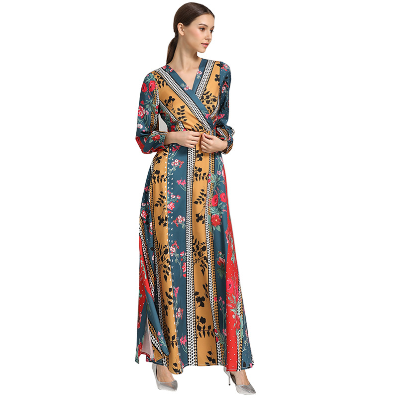 Fall 2019 Women's Long Design Lantern Sleeve Printing Muslim Dress Party Pakistani Dress Arabic V-neck Dubai Clothes K120