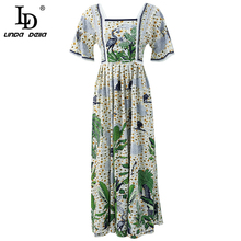 LD LINDA DELLA New Fashion Runway Autumn Dresses Women's Half Sleeve Backless Printed High Waist Elegant Casual Long Dresses ld linda della new fashion runway autumn dresses women s half sleeve backless printed high waist elegant casual long dresses